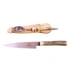 Cuchillo y Tenedor Venado asador mango guampa hoja de 14cm