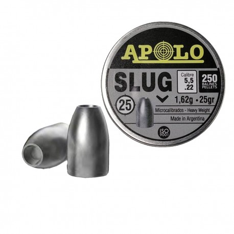 Chumbos Apolo Slug Punta Hueca Hollow Point 5.5mm 25gr Caza